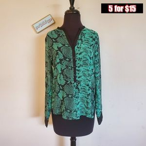 eight sixty green snake print blouse